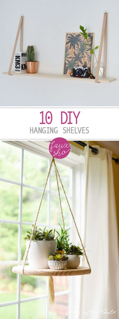 10 DIY Hanging Shelves| Hanging Shelves, Hanging Shelf Projects, Shelf Projects, How to Make Your Own Hanging Shelf, DIY Hanging Shelf Projects, Home Storage, Home Storage Projects, Easy Home Storage Hacks, Popular Pin