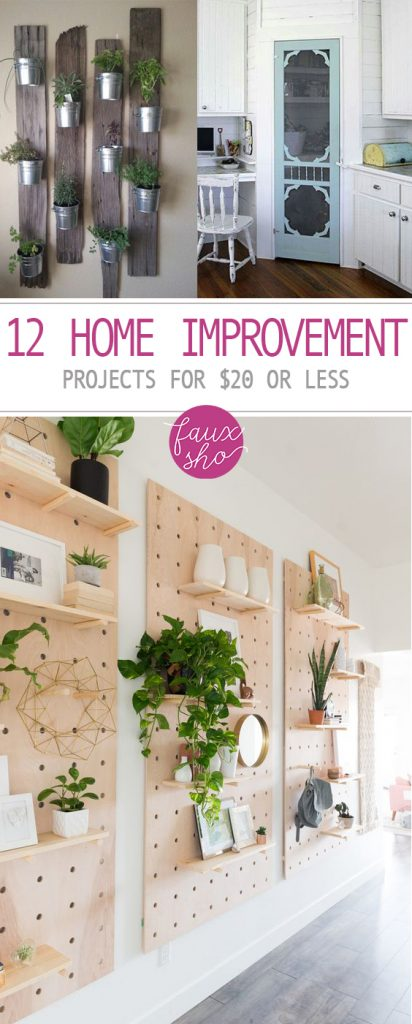 12 Home Improvement Projects for $20 or Less| Home Improvement Projects, Cheap Home Improvement Project, DIY Home Improvement Projects, DIY Home Decor, Cheap Home Improvement, Home Improvement Projects, DIY Home Improvement, Popular Pin