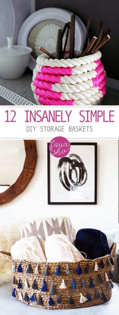 12 Insanely Simple DIY Storage Baskets| storage Baskets, DIY Storage Baskets, Storage Basket Projects, Simple Storage Baskets, Home Organization, DIY Home Organization, Home Organization Tips and Tricks, Popular Pin