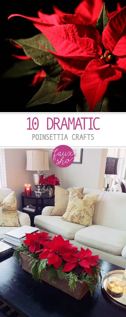10 Dramatic Poinsettia Crafts| Poinsettia Crafts for the Holidays, Holiday Crafts, Holiday Craft Projects, Craft Projects, Christmas Crafts, Christmas Craft Projects, Holiday Home Decor. #HolidayHome #HomeDecor #DIY