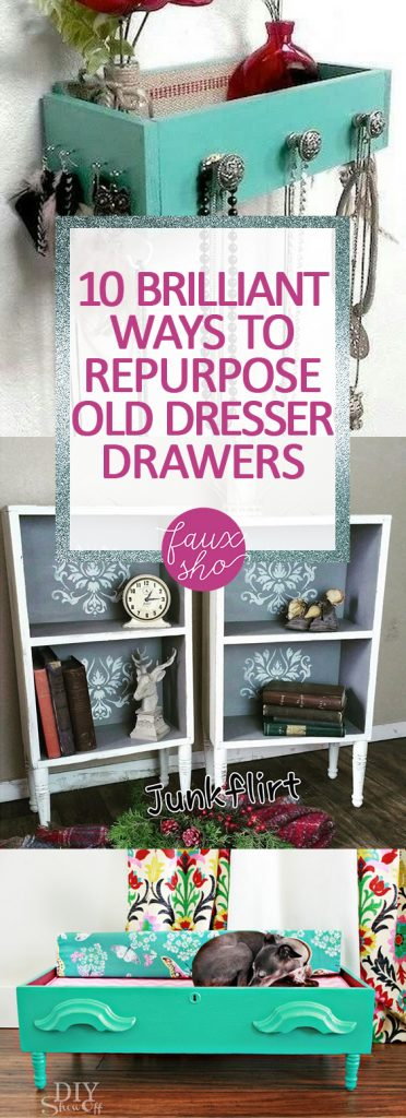 10 Brilliant Ways to Repurpose Old Dresser Drawers| Dresser Drawers, Repurpose Crafts, Easy Repurpose Crafts, Repurpose Dresser Drawers, DIY Dresser Drawers, Popular Pin #RepurposeCrafts #DresserDrawers #DIY