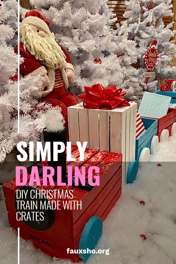 This is probably my favorite Christmas DIY project EVER. Why? Because it is so easy to do but it is also simply darling. Made from crates, this train makes the perfect Christmas display around your tree, on your porch or anywhere you want. A little spray paint and a few other items and you are ready to go. All aboard the Christmas Crate Train. Choo Choo! #DIYchristmascratetrain #DIYholidaydecor