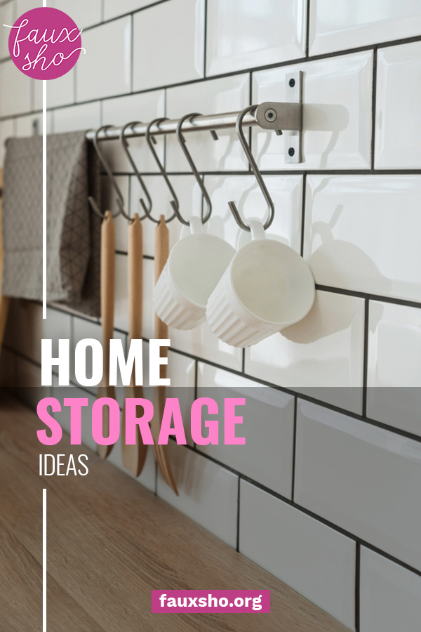 Want to get your home storage organized but don't have a lot of money for bins, baskets, etc? I've got some great home storage ideas for you that won't break the bank! #fauxshoblog #homestorage #cleverhomestorage