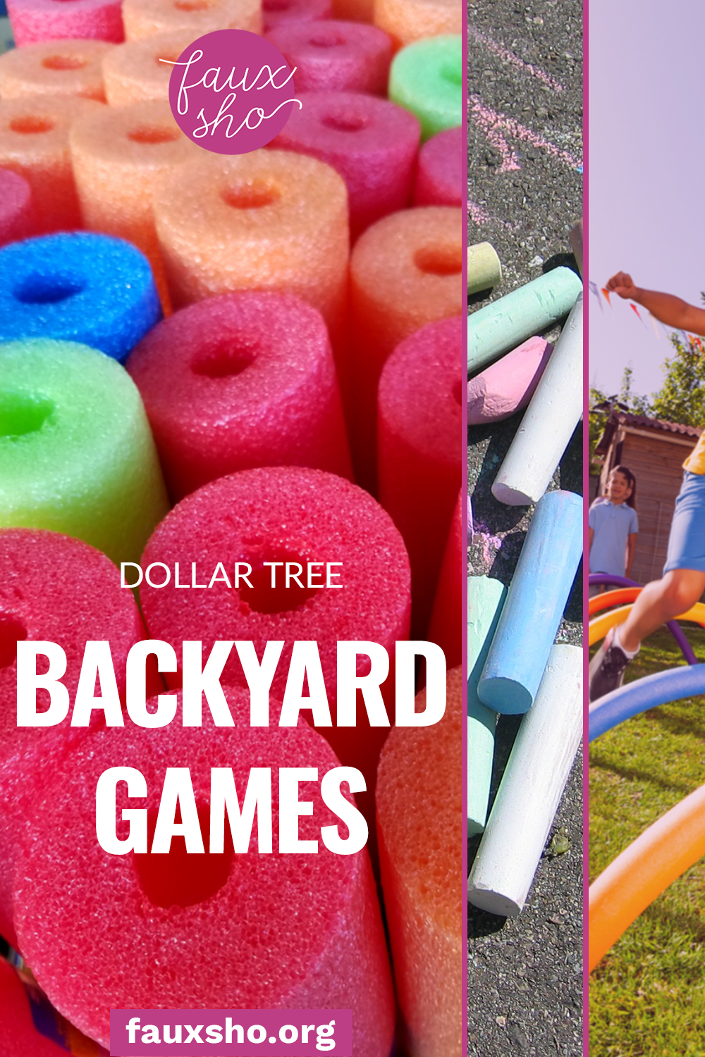 Looking for some fun and out of the box ideas to keep your kids from getting bored? These five dollar tree backyard games are sure to do the trick! #FauxShoBlog #DollarTreeHacks #SummerBackyardGames #PoolNoodleGames #DollarTreeBackyardGames