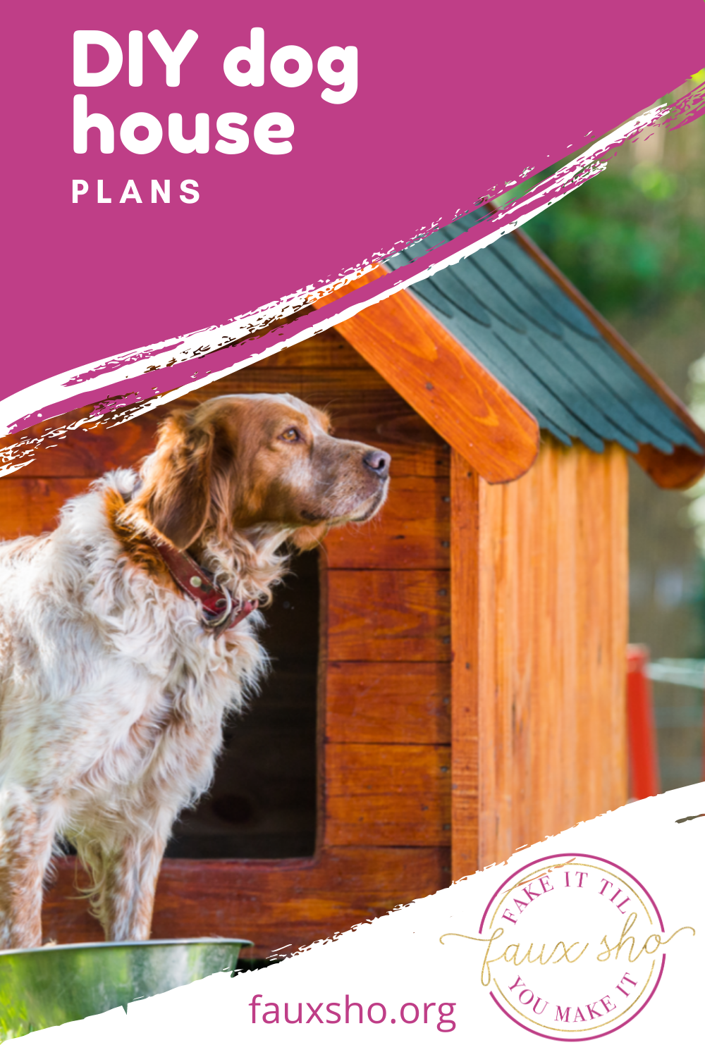 Just because you spent a lot of money on your new puppy, doesn't mean you have to spend a ton on their dog house. Come check out these cheap and easy DIY dog houses! #FauxShoBlog #CheapDIYDogHouses #EasyDIYDogHouse #DIYOutdoorDogHouses