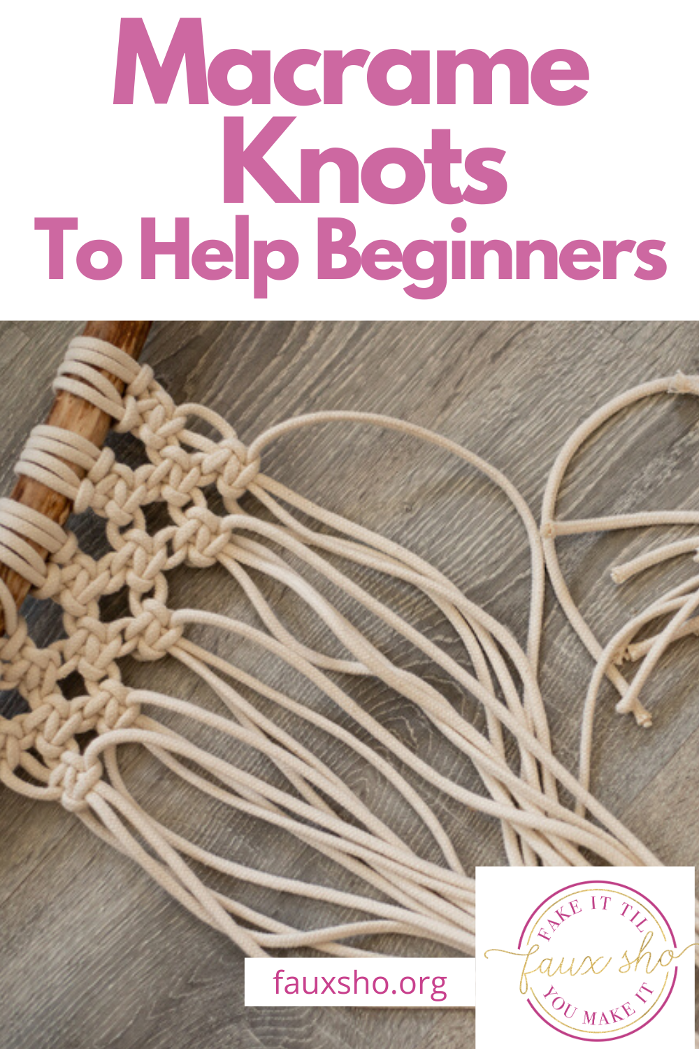 I've long admired macrame. I think macrame wall hangings are so beautiful. I decided I would give it a try. While that was a while ago, I thought I would share these knot styles with you to get you started. They are easy and you can start making something today. #howtotiemacrameknots #macrameknotsforbeginners #howtomakemacrame