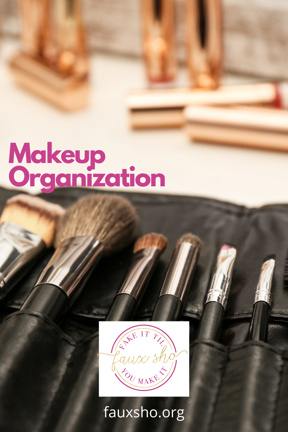 You put on makeup to look beautiful, but if your makeup is not organized, finding it can be UGLY. Why waste time looking for that mascara or lipstick? Read this post to learn about ways to organize makeup. Look beautiful without stressing. #makeuporganization #organizationideas #fauxshoblog