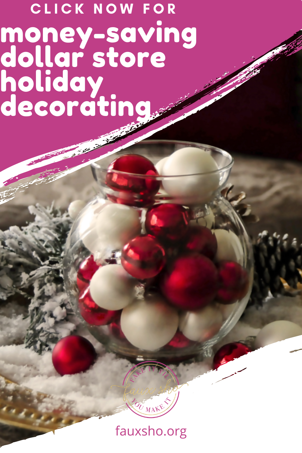 If you want to update your holiday decor without spending your whole paycheck? Then you've got to read our post on DIY Dollar Store Christmas Decorations! #FauxShoBlog #DIYDollarStoreDecorations #DIYChristmasDecorations #DIYHolidayDecoration #DollarStoreChristmasDecorations #holidaydecoratons