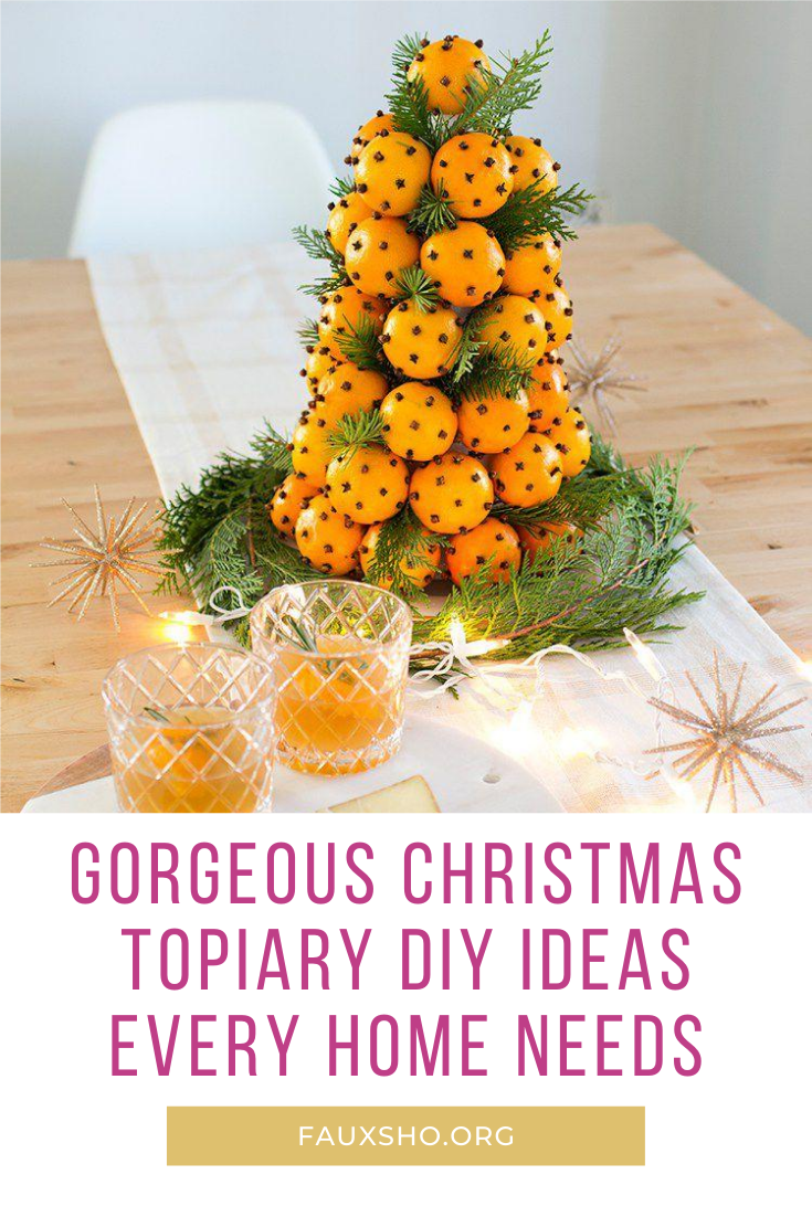 I love Christmas. I love to decorate as well. So, they DIY Christmas topiary ideas are just the perfect fit. I can use them both indoors and outdoors. Outside they make my porch so festive. Inside they complement the holiday decor and also work well as centerpieces. IF you want to know more, keep reading. #fauxshoblog #ChristmasDIY #holidaydecor #Christmasdecorations
