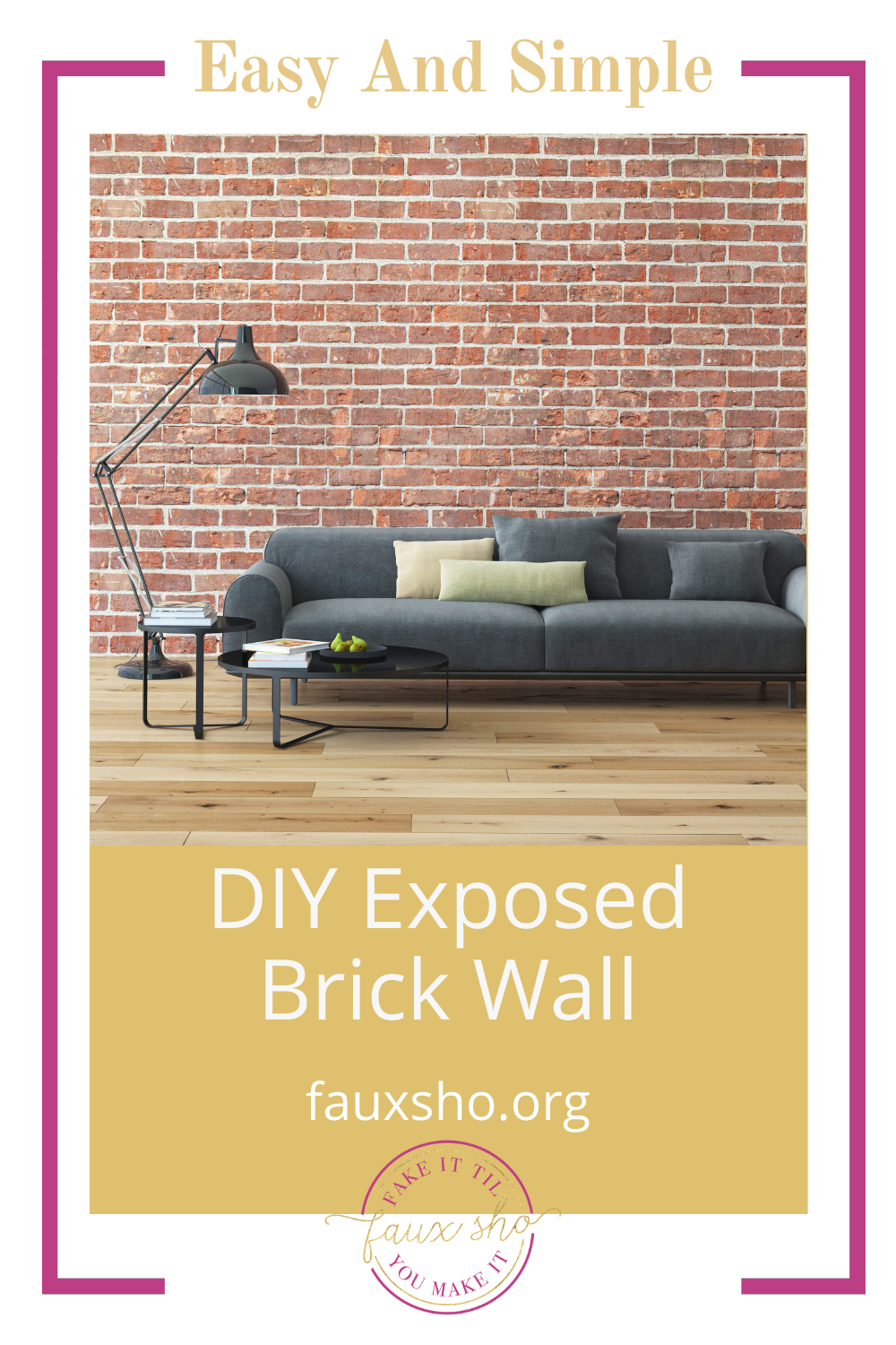 Fauxsho.org is all about faking it 'til you make it! Who doesn't love the industrial look of an exposed brick wall? If you aren't bless with exposed brick in your home, try this method for making a DIY brick wall now!