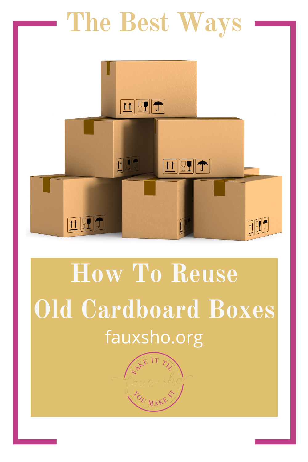 Fauxsho.org has creative ideas for how to reuse old cardboard boxes. Upcycling is a great way to save money and the planet. Read the article to learn more.