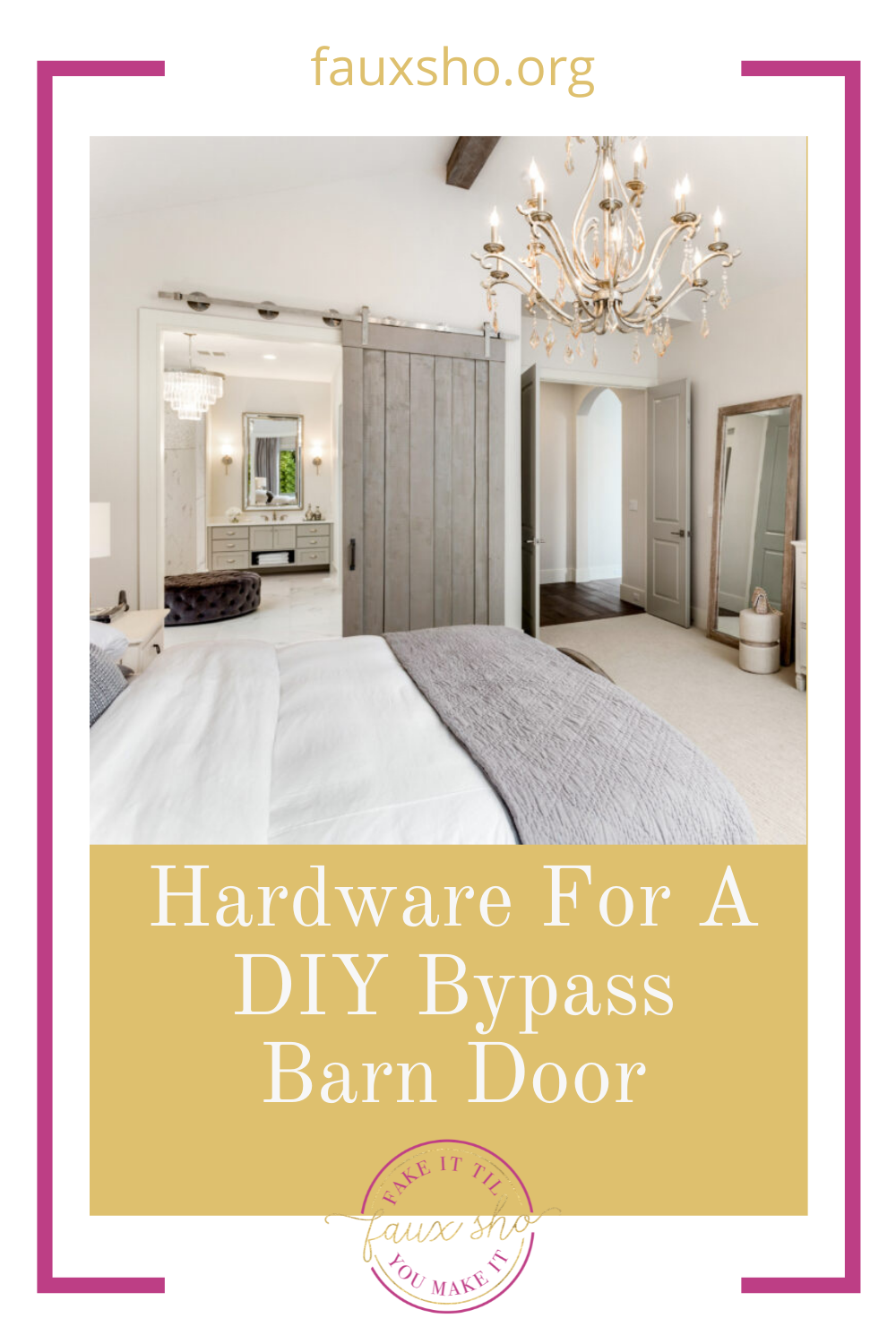 Fauxsho.org is loaded with DIY ideas for crafters of all skill levels and abilities! Transform your space into something unique and personal. Find out what hardware you need for a DIY bypass barn door!