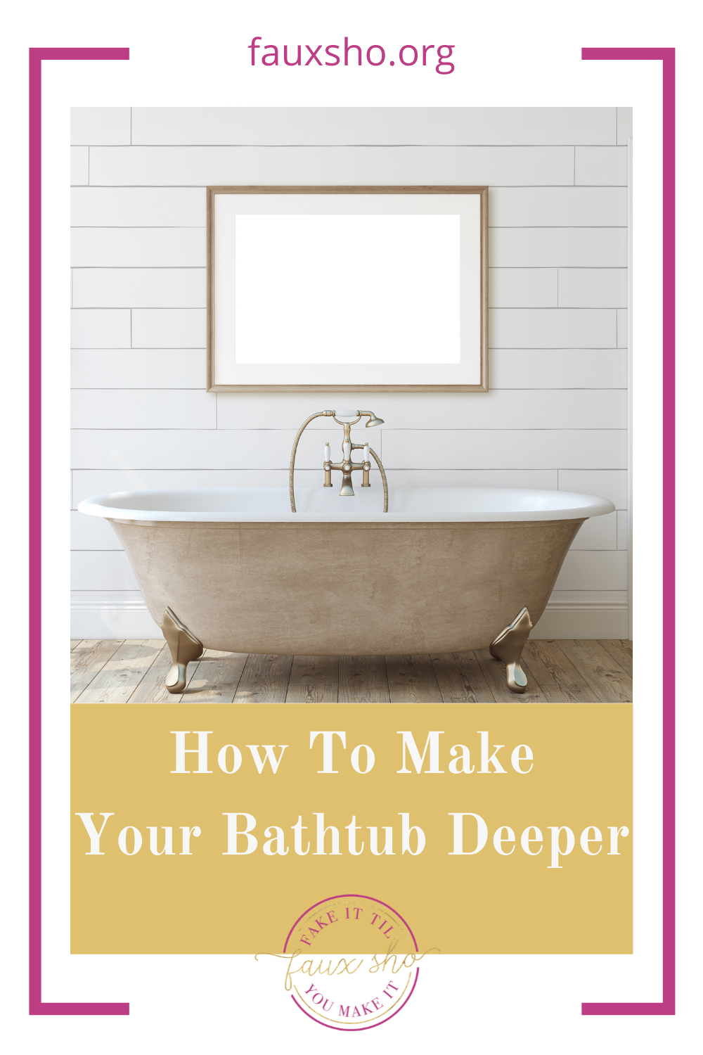 Fauxsho.org has the best ideas to help you fake it 'til you make it! Get the luxury of a deep bathtub in your home. Try these ideas for making your bathtub deeper today!