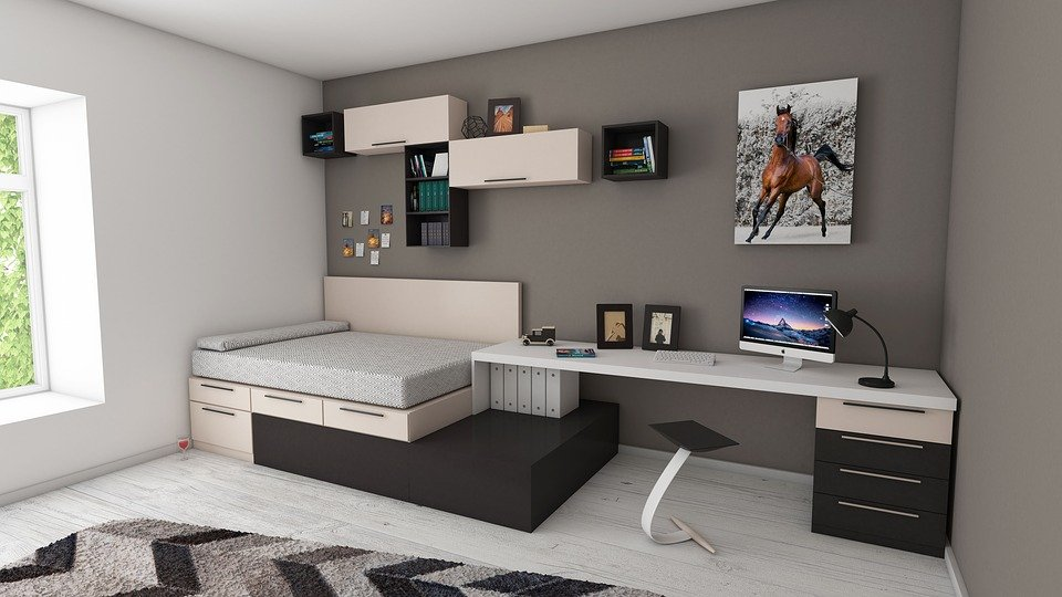 a room with gray wall